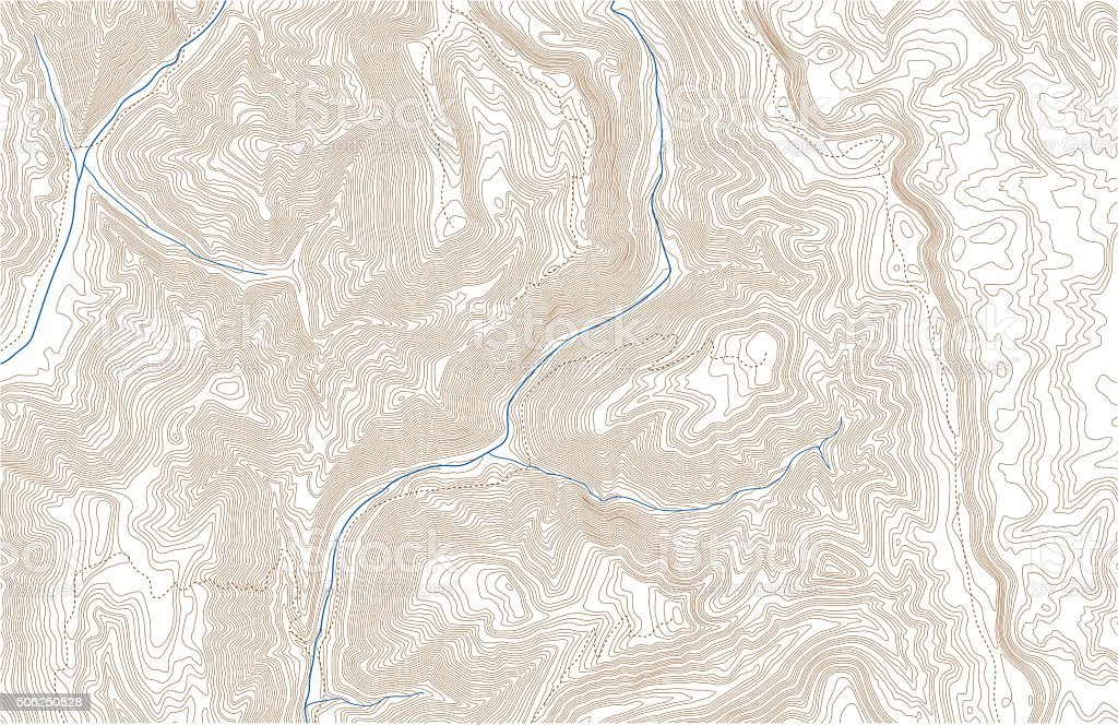 Topographic contours with trails and streams vector art illustration