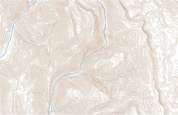 Topographic contours with trails and streams Topographic contour lines in mountainous terrain with trails and streams. Public domain topographic data compiled by the U.S. Geological Survey, sampled and modified from Graham Peak, Wyoming, US Topo quadrangle, 2015. http://store.usgs.gov and http://ims.er.usgs.gov/gda_services/download?item_id=7099469. Also in this series: contour line stock illustrations