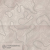Topographic line map. Abstract concept topographic map with old paper effect. Vector background.