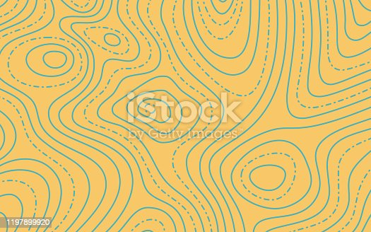 Topographic map lines yellow and blue abstract background pattern.