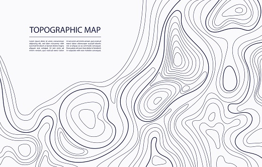 Topographic map contour. Geographic mapping, nature terrain relief, mountain topology. Cartography line landscape vector abstract background. Area for hiking or camping navigation plan