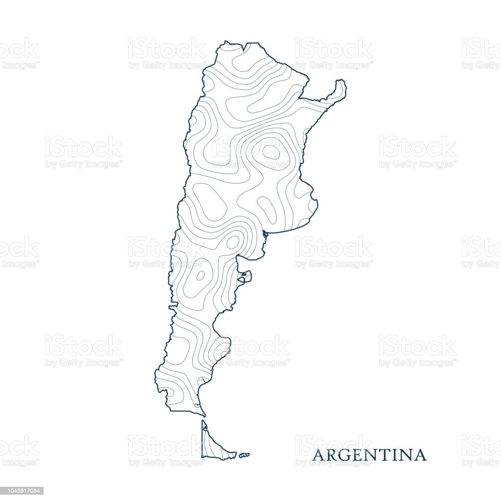 Topographic Map Contour Of Argentina Stock Illustration - Download