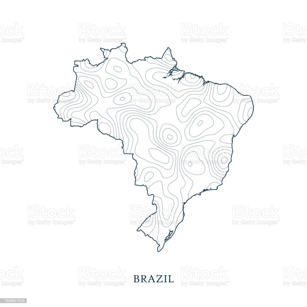 Topographic Map Contour Of Brazil Stock Vector Art More Images Of