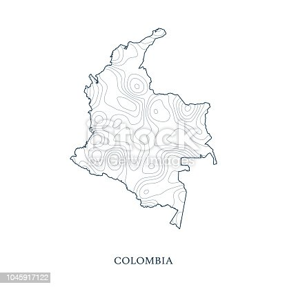 Topographic Map Of Colombia.Topographic Map Contour Of Colombia Stock Vector Art More Images