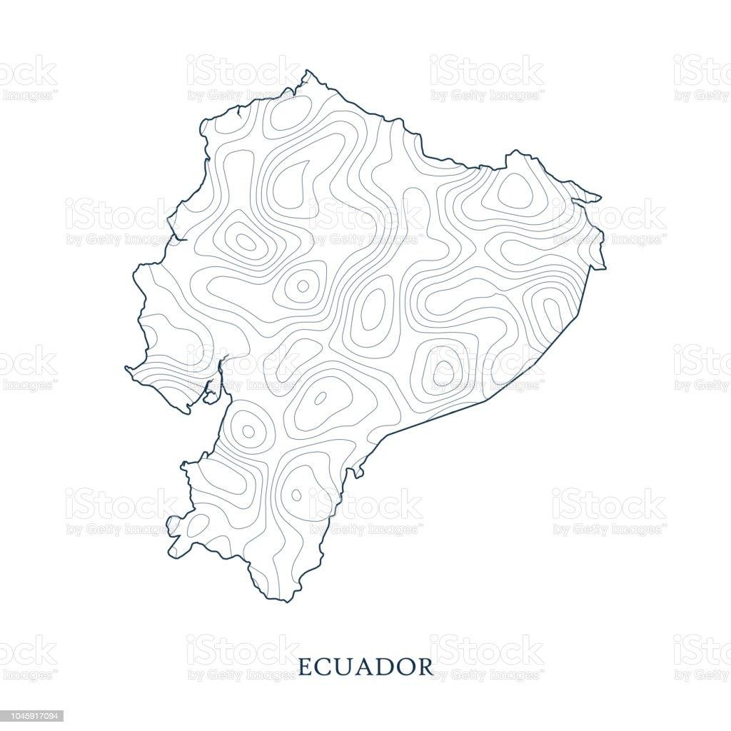 Topographic Map Contour Of Ecuador Stock Illustration - Download
