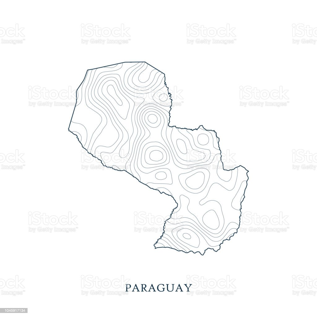 Topographic Map Contour Of Paraguay Stock Illustration - Download