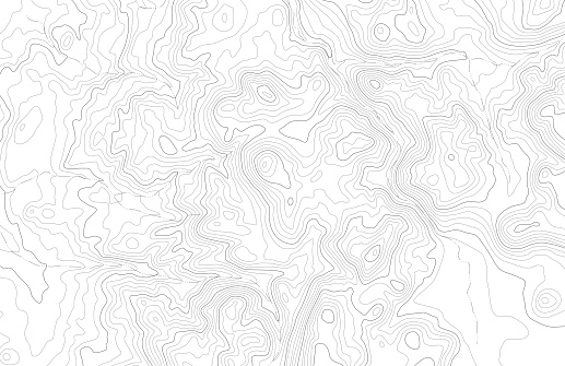 Topographic map contours in hilly or mountainous terrain
