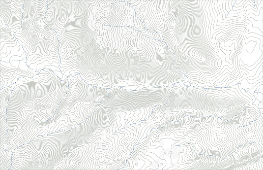 Topographic map contours with streams in hilly or mountainous terrain