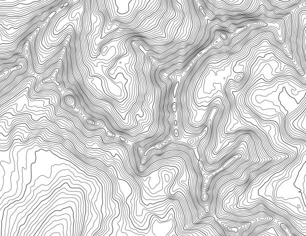 Topographic map in mountainous terrain Topographic map with elevation contour lines in mountainous terrain. Public domain topographic data compiled by the U.S. Geological Survey, sampled and modified from Anchorage D-7 SE, Alaska, 2016 US Topo quadrangle, https://store.usgs.gov/product/517497 and http://ims.er.usgs.gov/gda_services/download?item_id=8290614. contour line stock illustrations