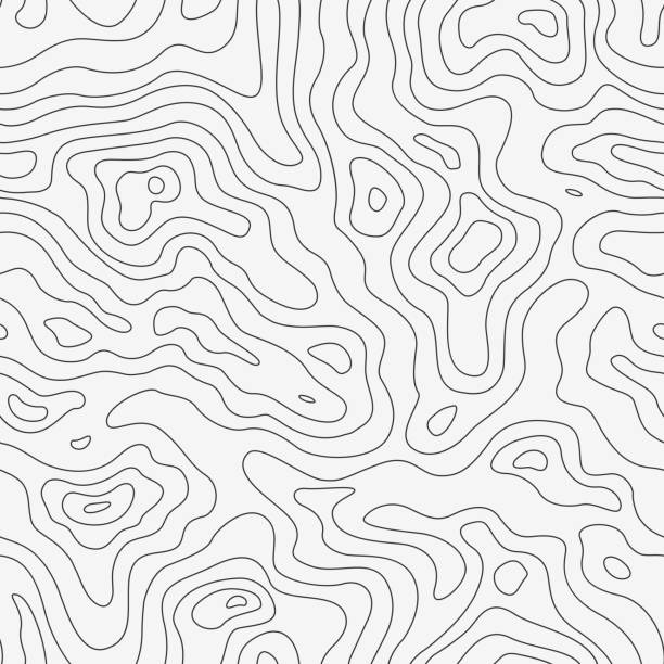 topographic map seamless pattern. vector background - fiziki coğrafya stock illustrations