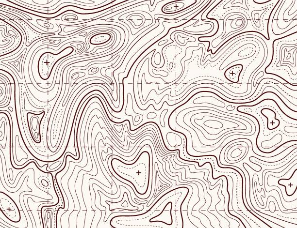 Topographic map. Trail mapping grid, contour terrain relief line texture. Cartography concept Topographic map. Trail mapping grid, contour terrain relief line texture. Cartography vector concept longitude stock illustrations