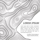 Abstarct illustration of a topographic map outlines with blank space for text. Random pattern made with bold and dotted lines.