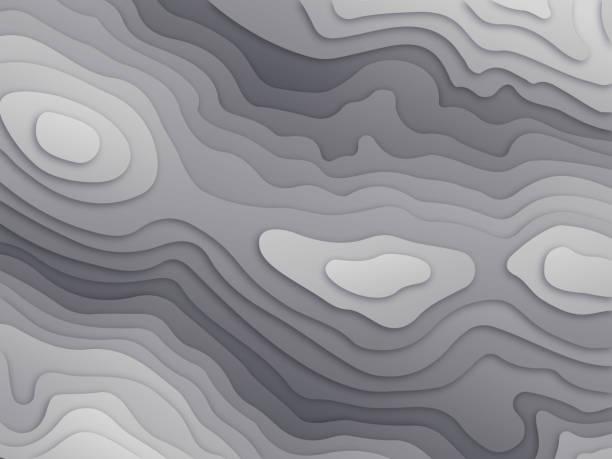 Topographic Relief Map Abstract paper cut-out paper topography layers background. contour line stock illustrations