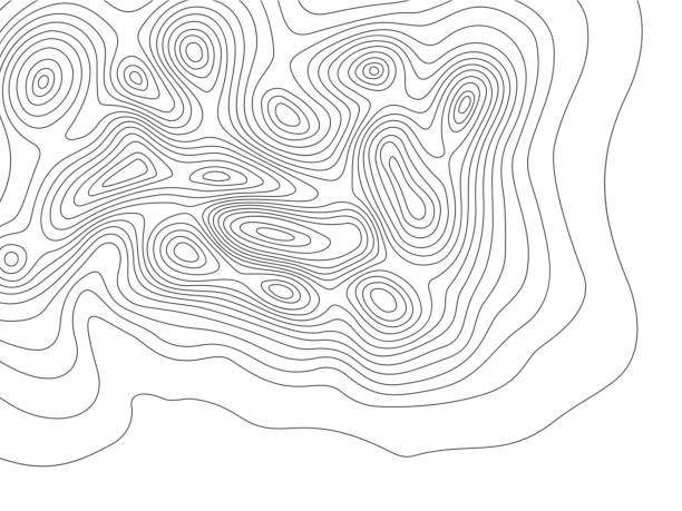 Topography map. Cartography mountains contour lines, elevation maps and earth contoured line topology vector background illustration Topography map. Cartography mountains contour lines, elevation maps and earth contoured line topology. Wavy abstract measuring compass contours. Topographic geographical vector background illustration contour line stock illustrations