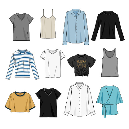 Tops for women vector illustration comic line clothing style elements