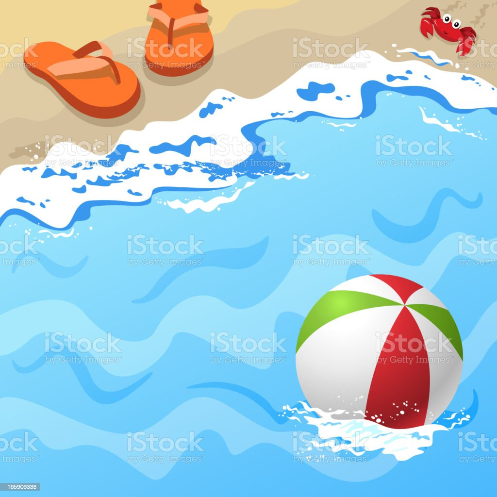 Topview Beach Side with Beach Elements royalty-free stock vector art