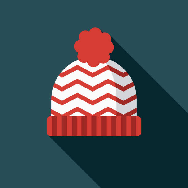 Toque Flat Design Canadian Icon with Side Shadow A pastel colored flat design Canadian icon with a long side shadow. Color swatches are global so it's easy to edit and change the colors. knit hat stock illustrations