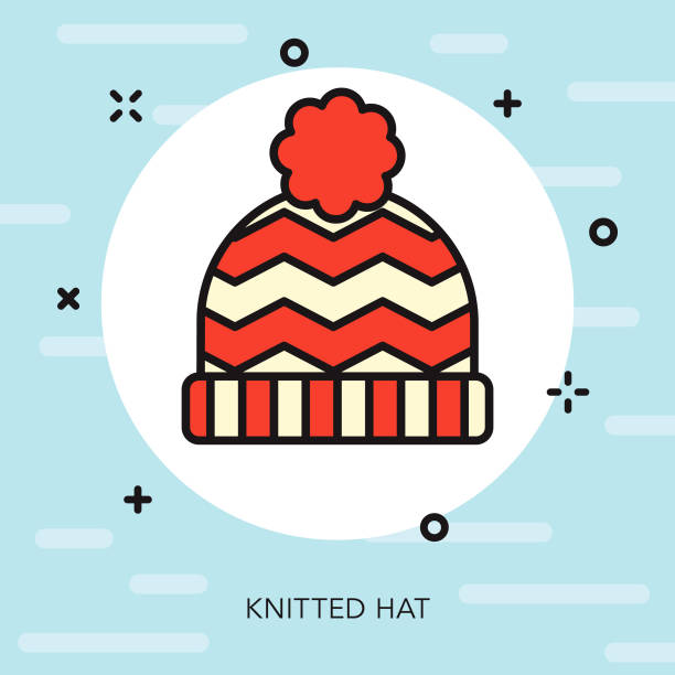 toque thin line winter icon - thin line fonts stock illustrations