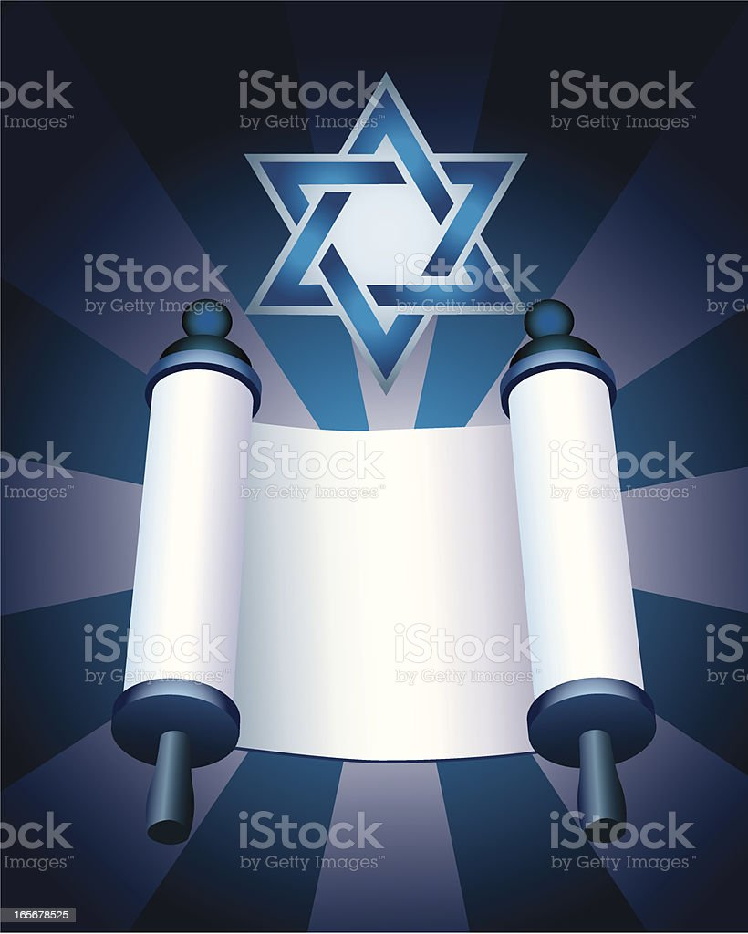 Torah and Star of David - Judaism Background royalty-free stock vector art