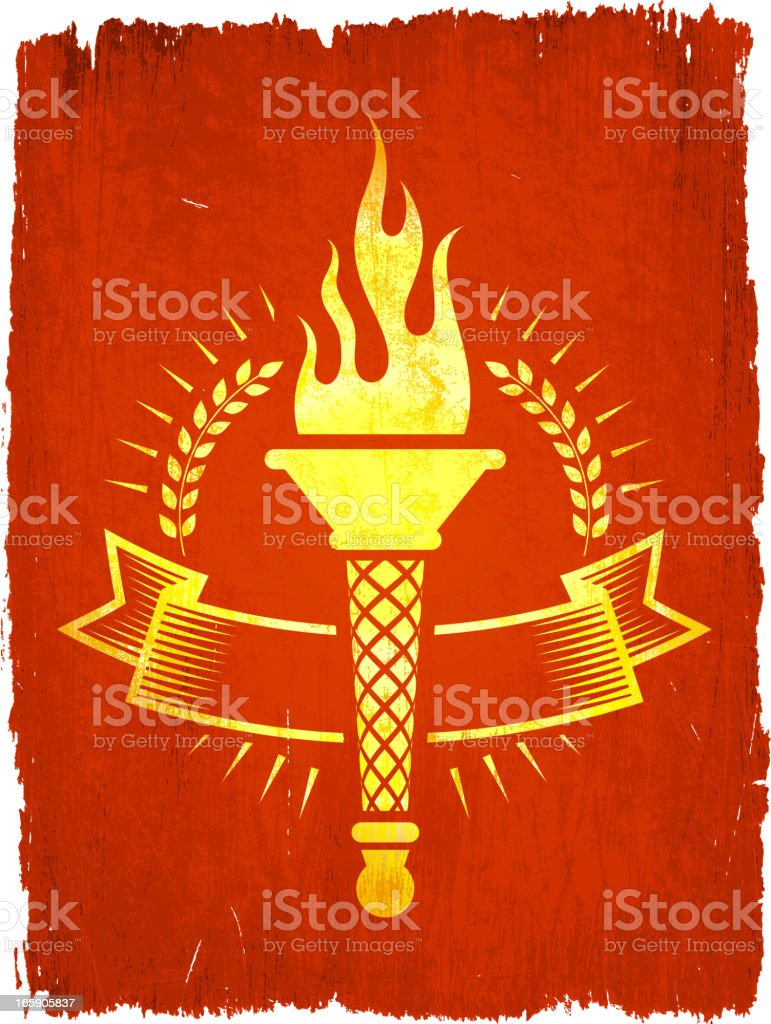 Torch Badge on royalty free vector Background vector art illustration