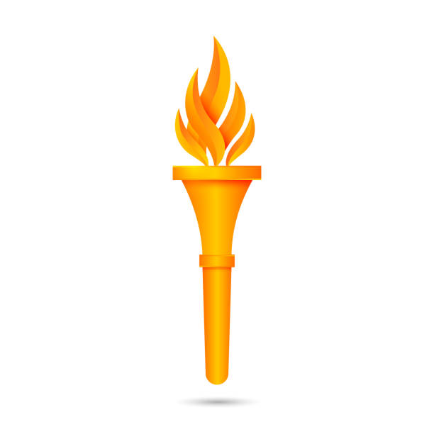 Torch icon design Torch flame icon or symbol design. Vector illustration flashlight stock illustrations