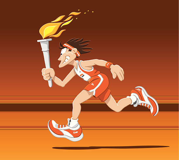 """Torch Runner Summer """"Vector Illustration of a torch runner with summer clothing. The background is on a separate layer, so you can use the illustration on your own background. The colors in the .eps-file are ready for print (CMYK). Included files: EPS (v8) and Hi-Res JPG."""" running stock illustrations"""