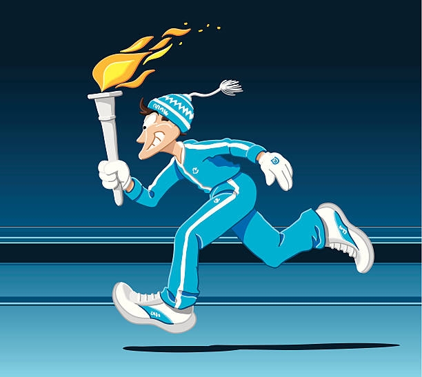 Torch Runner Winter Vector Illustration of a torch runner with winter clothing. The background is on a separate layer, so you can use the illustration on your own background. The colors in the .eps-file are ready for print (CMYK). Included files: EPS (v8) and Hi-Res JPG. winter sport stock illustrations