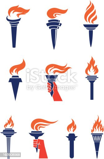 Set of 10 torches graphic elements.