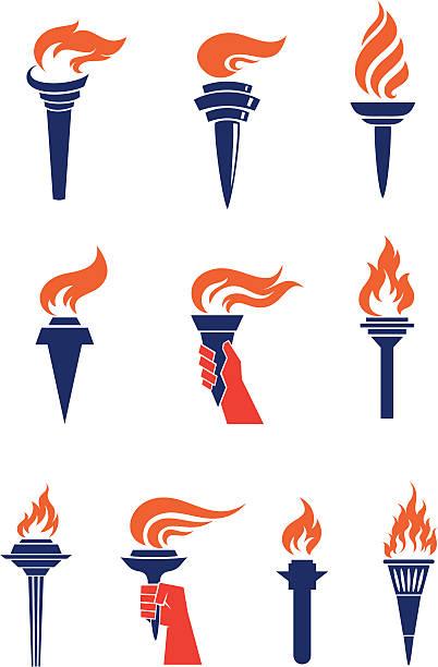 ilustrações de stock, clip art, desenhos animados e ícones de tochas - chama