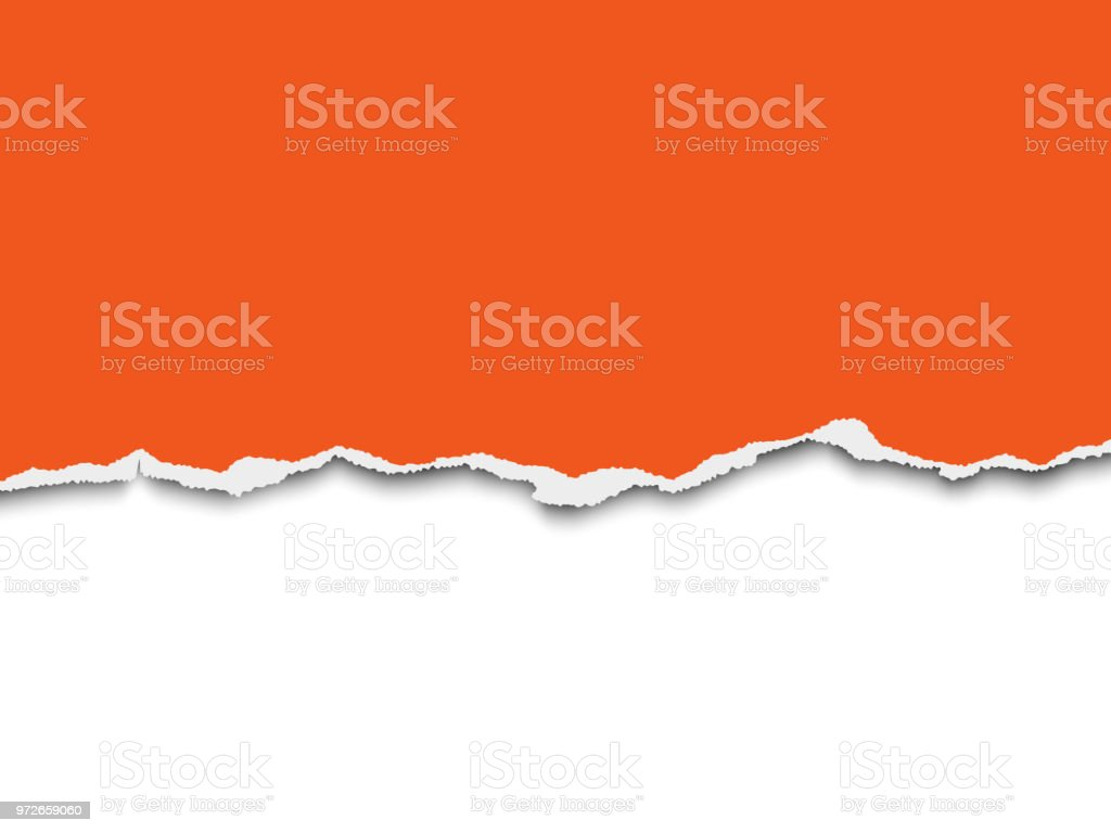 Torn a half sheet of orange paper from the bottom on white background. Vector template paper design. vector art illustration