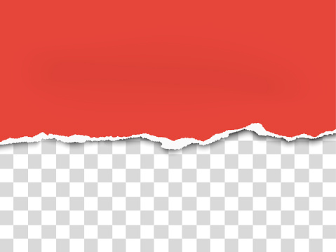 Torn a half sheet of red paper from the bottom. Vector paper template.