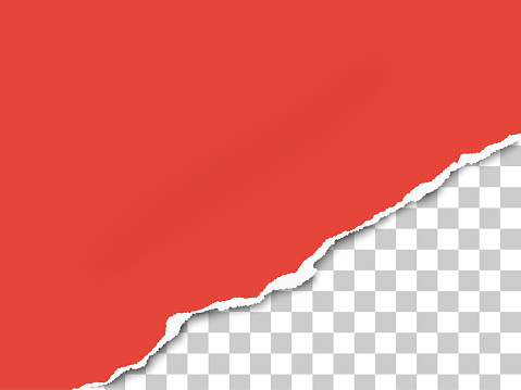 Torn bottom right part of sheet of red paper. Vector template paper design.