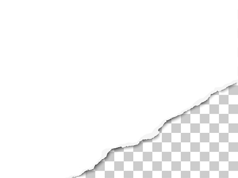 Torn bottom right part of sheet of white paper. Vector template paper design.
