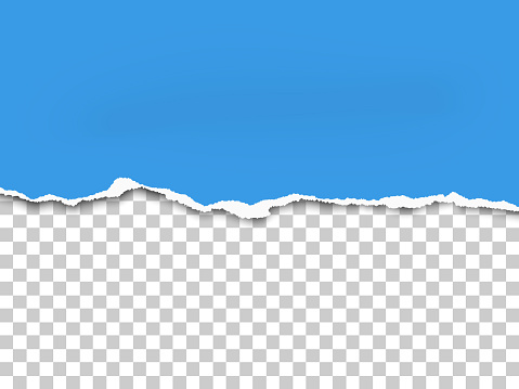 Torn bottom side of sheet of blue paper placed horizontal from left to right. Vector paper mockup.