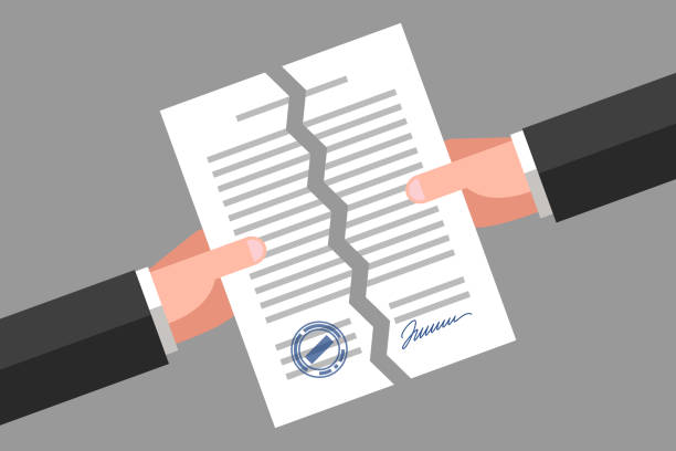 torn document. cancellation of contract or agreement - kontrakt stock illustrations