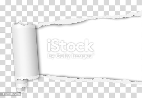 istock Torn elongated hole from right to left side in transparent sheet of paper with wrapped paper tear and white background. Vector template design. Paper mockup. 1178707735
