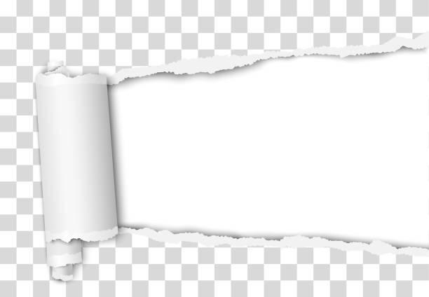 zerrissenes, längliches loch von rechts nach links in transparentem blatt papier mit gewickeltem papierriss und weißem hintergrund. vektorvorlagendesign. papier-mockup. - zerrissen stock-grafiken, -clipart, -cartoons und -symbole