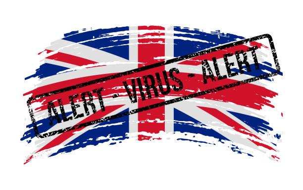 stockillustraties, clipart, cartoons en iconen met britse gescheurde vlag met een zegel met het woordenalarmvirus, vector - tears corona