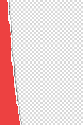 Torn from top to bottom vertical sheet of red A4 paper on transparent background. Vector paper template.