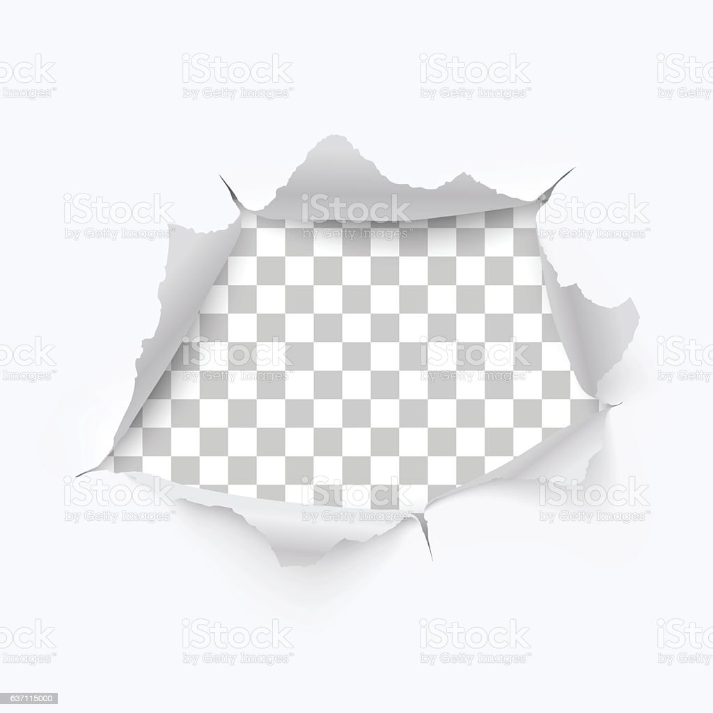 Torn hole and ripped of paper on a transparent background vector art illustration