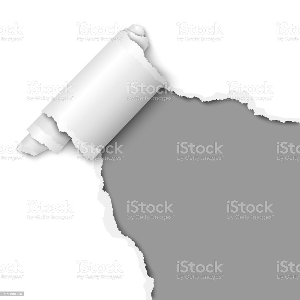 Torn hole of lower right corner of the white sheet of paper with paper curl. Vector template paper design. vector art illustration