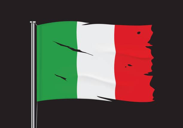 stockillustraties, clipart, cartoons en iconen met gescheurde vlag van italië op een metaalpool. - tears corona