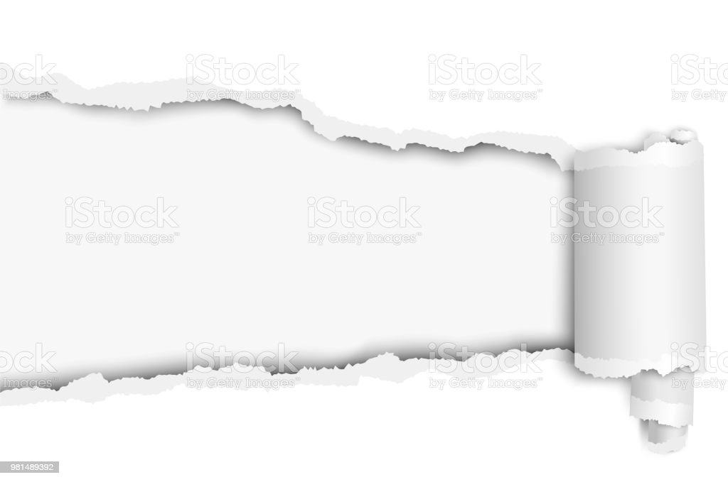 torn long hole in sheet of white paper with wrapped paper