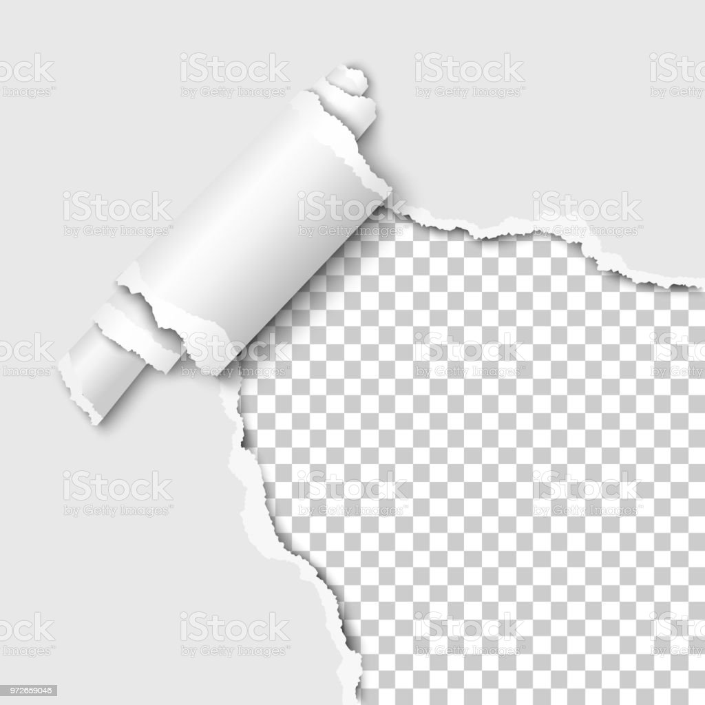 Torn lower right corner of the white sheet of paper with paper curl. Transparent background of the resulting hole. vector art illustration