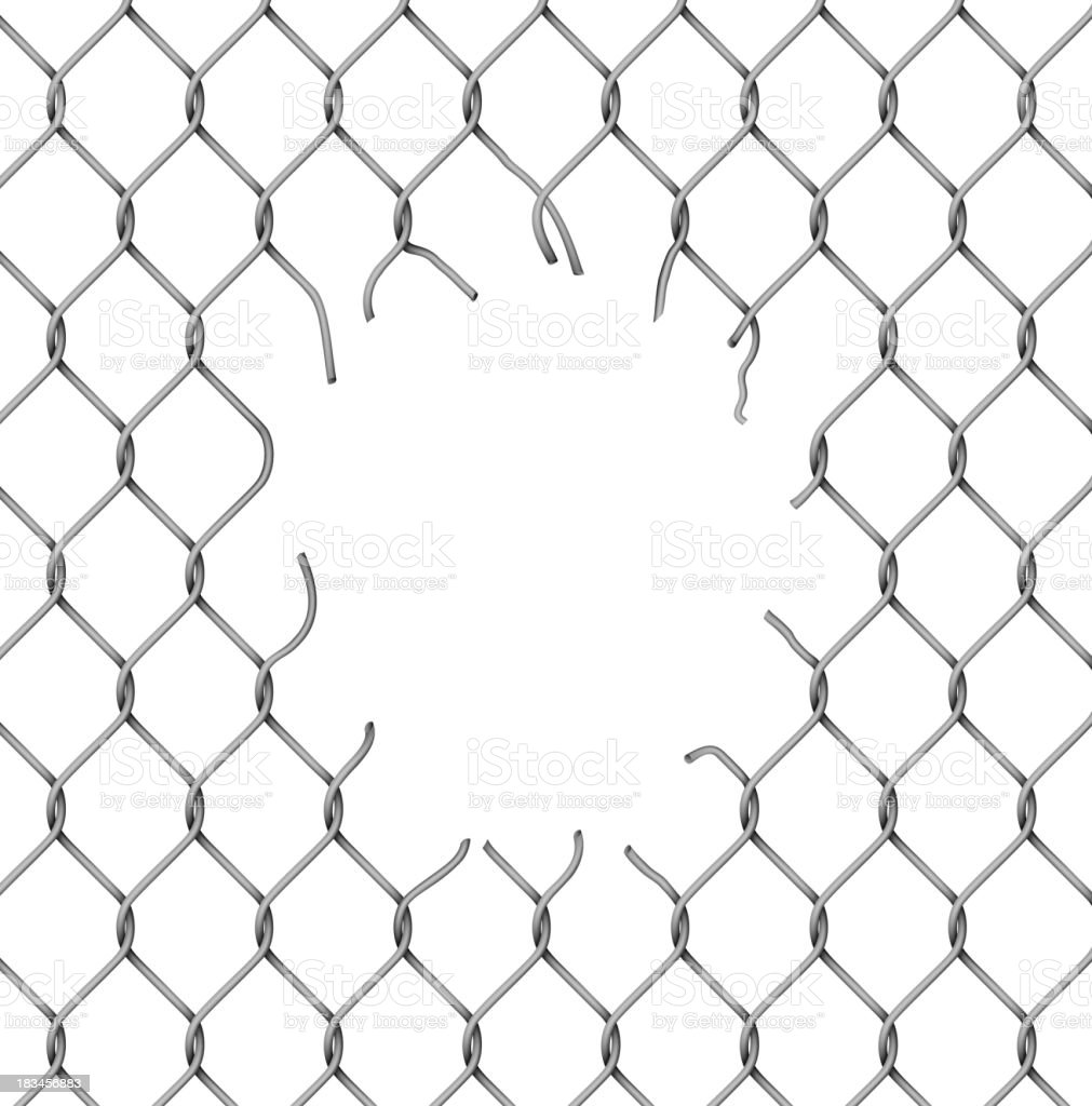 Torn metal mesh vector art illustration