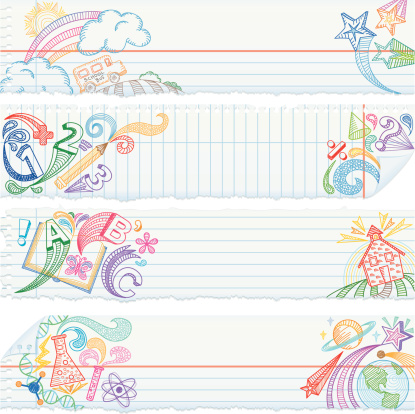 Torn Notebook Paper Banners — School Subjects
