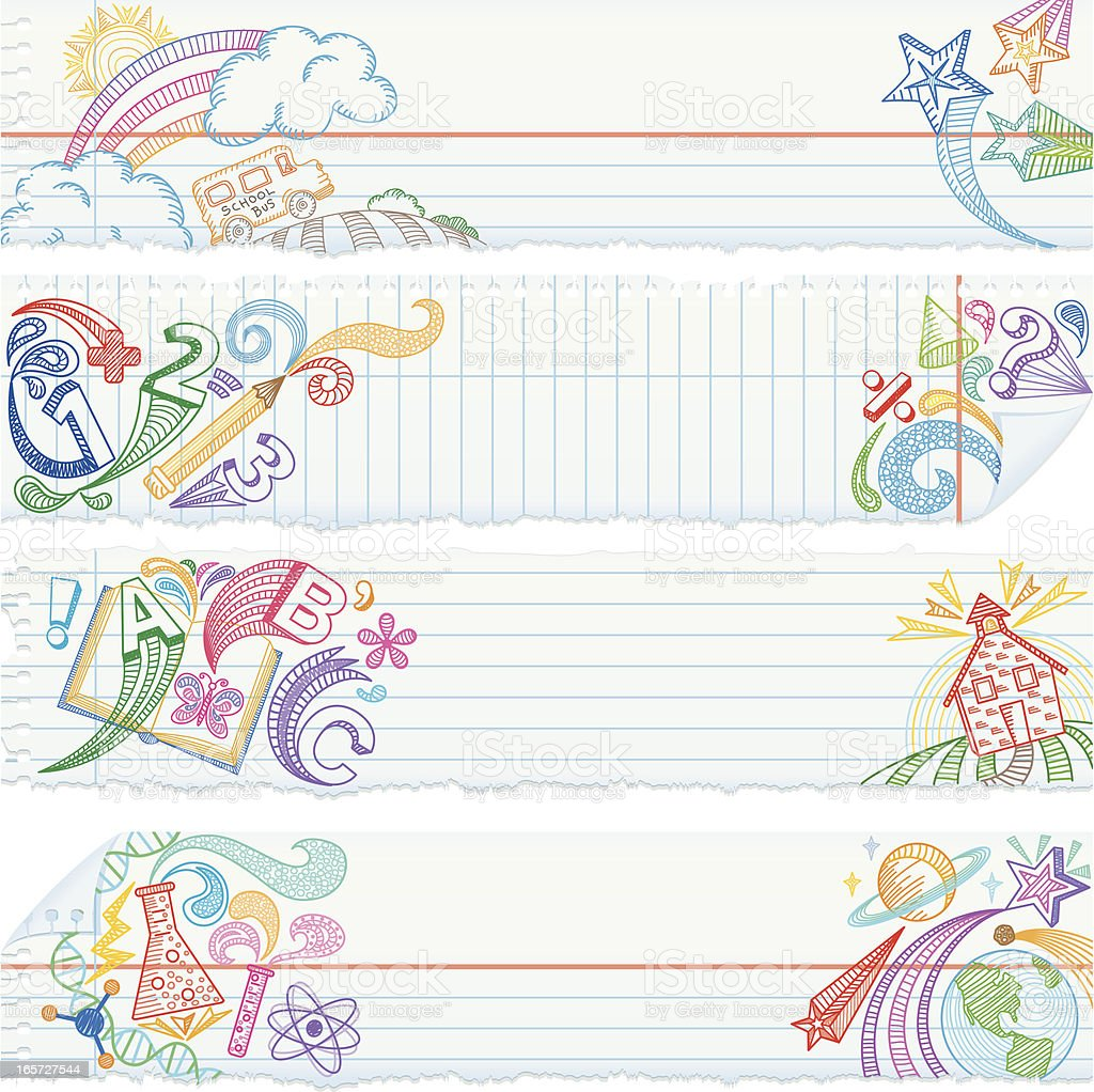 Torn Notebook Paper Banners — School Subjects vector art illustration