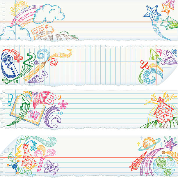 torn notebook paper banners — school subjects - school backgrounds stock illustrations, clip art, cartoons, & icons