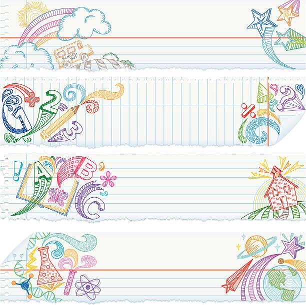 ilustraciones, imágenes clip art, dibujos animados e iconos de stock de rasgado de papel de cuaderno escolar sujetos banners - fondos escolares