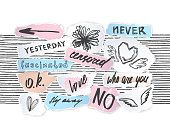 Torn off paper edges collage pieces' sketches set with hand drawn words, lettering, drawings. .